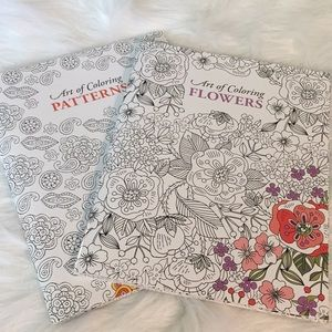 Art of Coloring in Patterns and Flowers Set